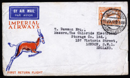 A3171) South Africa Air Mail Cover From Capetown 01/27/1932 To UK With Scott #C6 - Südafrika (...-1961)
