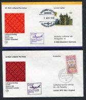 1978 Lufthansa GB Germany London Heathrow / Dusseldorf First Flight Covers X 2 - 1952-.... (Elizabeth II)
