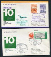 1977 Lufthansa Hungary Germany Budapest / Frankfurt First Flight Covers X 2