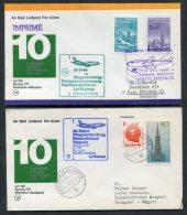 1977 Lufthansa Hungary Germany Budapest / Munich First Flight Covers X 2 - Airmail