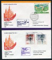 1980 Lufthansa Russia USSR Germany Leningrad / Frankfurt First Flight Covers X 2 - 1923-1991 USSR