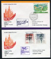 1980 Lufthansa Russia USSR Germany Leningrad / Frankfurt First Flight Covers X 2 - Lettres & Documents