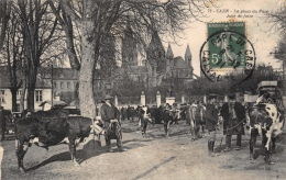 CAEN - La Place Du Parc - Jour De Foire - Vaches - Caen