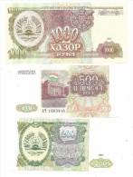 Tajikistan Lot 1994 3 Banknotes UNC .S. - Tadjikistan