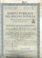 Debito Pubblico Del Regno D'italia 1934 Certificato Nominativo Ben Conservato Cod.doc.110 - Documenti Storici
