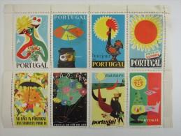 8x PORTUGAL Tourism Tourist Tourisme Advertise BIG Poster Stamp Label Vignette Viñeta Cinderella - Portugal