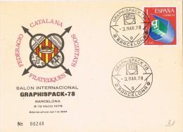 13769. Tarjeta Federacion BARCELONA 1978. Graphispack, Salon Internacional - 1931-Hoy: 2ª República - ... Juan Carlos I