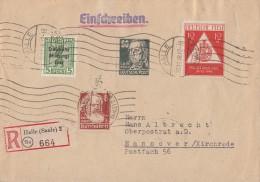 SBZ R-Brief Mif Minr. 200,214,225,228 Halle 30.11.48 Gel. Nach Hannover - Zone Soviétique