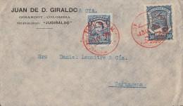 Kolumbien Brief Mit SCADTA-Marke Und Rotem Stempel  Ansehen !!!!!!!!!!!!!!!! - Kolumbien
