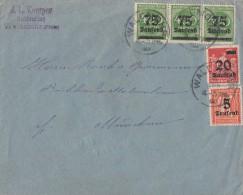 DR Brief Mif Minr.277,280,3x 287 Waldmohr (Pfalz) 24.9.23 Gel. Nach München - Germany