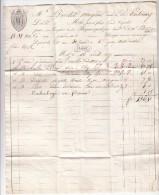 MOSELLE  1827 LAC FACTURE MELO PERE & FILS DE METZ. MP 55 METZ. TAXE PLUME BLEUE 10 POUR PARTENAY   / ROUGE IV-5 - 1801-1848: Precursores XIX