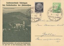 DR Privat-Ganzsache Minr.PP142 C12 Zfr. Minr.512 SST Bad Blankenburg 18.7.37 - Deutschland