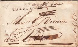 NORD 1818 LAC MP 5/ VALENCIENNES. PORT DU ANNULE TAXE ACQUITEE A DESTINATION VIRI.  PEU ORDINAIRE.  / ROUGE IV-7 - Marcophilie (Lettres)