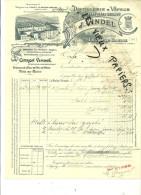 71 - Saône-et-loire - LA ROCHE VINEUSE - Facture VINDEL - Distillerie - Liqueurs Fines Et Sirops – 1912 - REF 28H - 1900 – 1949