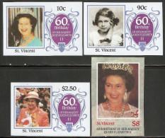 St. Vincent 1986 Mi# 936-939 U ** MNH - Imperf. - Queen Elizabeth II, 60th Birthday - Royalties, Royals