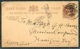 1899 QV East India Stationery Postcard Bapatla - Mission Compound, Kanigiri, Andhra Predesh TOO LATE - India (...-1947)