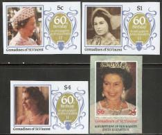 Grenadines Of St. Vincent 1986 Mi# 474-477 U ** MNH - Imperf. - Queen Elizabeth II, 60th Birthday - Royalties, Royals