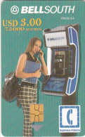 ECUADOR - Girl On Bellsouth Cardphone, BellSouth Telecard, Chip GEM3.1, Exp.date 01/03/02, Used - Ecuador