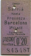 TICKET EDMONDSON DEL FERROCARRIL DE SARRI A BARCELONA // SARRIA A PROVENZA BARCELONA // 1919 - Railway