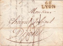 RHÔNE 1817 LAC MP 68 LYON 21mm. TAXE PLUME 4 POUR DIJON.  / ROUGE IV-20 - Marcophilie (Lettres)