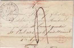 SAÔNE-ET-LOIRE 1834 LAC ÉCRITE A SERMESSE  T13 VERDUN-SUR-SAÔNE. Id. TAXE PLUME 4 POUR LYON. / ROUGE IV-23 - Marcophilie (Lettres)