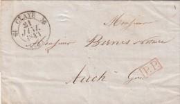 SEINE-ET-MARNE 1840 LAC T12 CLAYE. PP POUR AUCH.  / ROUGE IV-26 - 1801-1848: Precursors XIX
