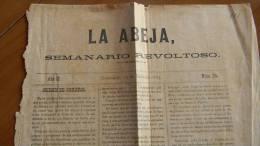 BP2 CUBA SPAIN NEWSPAPER ESPAÑA 1883 LA ABEJA 2/07/1883 GUANAJAY