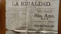 BP31 CUBA SPAIN NEWSPAPER ESPAÑA 1884  LA IGUALDAD 15/09/1884 - Magazines & Newspapers