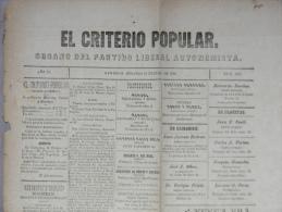 BP200 CUBA SPAIN NEWSPAPER ESPAÑA 1888 EL CRITERIO POPULAR 15/07/1888. 56X37cm. - Revistas & Periódicos