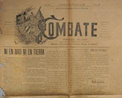 "BP204 CUBA SPAIN NEWSPAPER ESPAÑA 1902 \""EL COMBATE\"" 16/11/1902. 56X37cm. - Magazines & Newspapers"