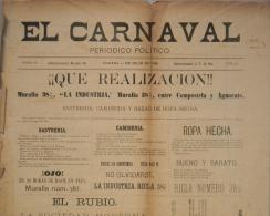 """BP206 CUBA SPAIN NEWSPAPER ESPAÑA 1886 \""""EL CARNAVAL\"""" 11/07/1886. 56X37cm. - Magazines & Newspapers"""