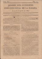 BP117 CUBA SPAIN NEWSPAPER ESPAÑA 1821 DIARIO GOBIERNO CONSTITUCIONAL 6/08/1821 - Magazines & Newspapers