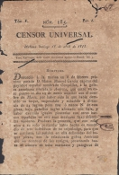 BP107 CUBA SPAIN NEWSPAPER ESPAÑA 1813 CENSOR UNIVERSAL 18/04/1813 - Magazines & Newspapers