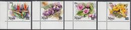 NIUE, 1983 FLOWER SURCHARGES 4 MNH - Niue