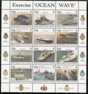 Br. Indian Ocean Terr.,  Scott 2014 # 196,  Issued 1997,  Sheet Of 12,  MNH,  Cat $ 22.50,  Ships - British Indian Ocean Territory (BIOT)