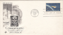 3906- SPACE, COSMOS, FIRST ORBITAL FLIGHT, SPACE SHUTTLE, JOHN GLENN JR, EMBOISED COVER FDC, 1962, USA - United States