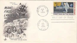 3905- SPACE, COSMOS, MAN´S FIRST LANDING ON THE MOON, SPACE SHUTTLE, CREW, EMBOISED COVER FDC, 1969, USA - FDC & Commemoratives