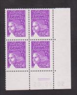 FRANCE / 2002 / Y&T N° 3446 ** : Luquet RF 0.10 € Violet-rouge X 4 - Coin Daté 2002 06 20 (=) - 2000-2009