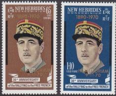 NEW HEBRIDES(BR) 1970 DE GAULLE 2 MNH - English Legend