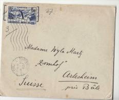 DE703-1937 Enveloppe A La SUISSE Timbre RF 1,50-CHAMONIX-MONT-BLANC - 1921-1960: Moderne