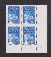 FRANCE / 2002 / Y&T N° 3451 ** : Luquet RF 0.58 € Bleu X 4 - Coin Daté 2002 01 15 ( ) - 2000-2009