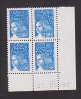 FRANCE / 2002 / Y&T N° 3451 **  : Luquet RF 0.58 € Bleu X 4 - Coin Daté 2002 06 27 (=) - 2000-2009
