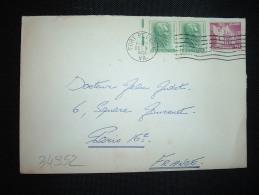 LETTRE POUR LA FRANCE TP THE ALAMO 9 C + TP ANDREW JACKSON 1 C X2 OBL.MEC. DEC 5 1963 FORT BELVOIR + VIGNETTE CHRISTMAS - United States