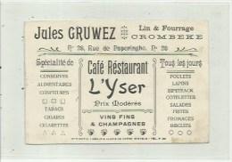Crombeke  - Krombeke   - caf� restaurant L' YSER - reclame kaart 12 cm op 10 cm