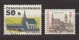 Czechoslovakia  Tschechoslowakei  1992 Gest. 3129, 3132 Sc 2870, 2871A Freimarken  Architektur, Cesky Krumlov  C.3 - Czechoslovakia