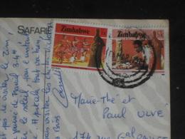 LETTRE ZIMBABWE AVEC YT 99 ET 101 - DANSE TRADITIONNELLE - SCULPTURE SUR BOIS - - Zimbabwe (1980-...)