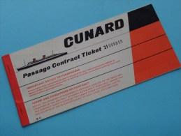 "TICKET 21 006655 - R.M.S. "" QUEEN MARY "" 24/6/1964 NewYork Southampton / CUNARD STEAM SHIP C°( Voir Photo Pour Detail )! - Titres De Transport"