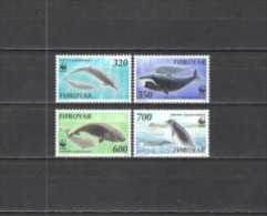 Färöer-Inseln 1990 Tiere Animals Fauna Meerestiere Wale Whales Grönlandwal Entenwal Zahnwal Nordkaper, Mi. 203-6 ** - Färöer Inseln