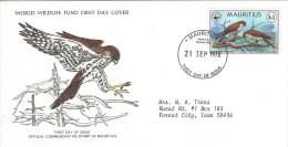 Mauritius 1978 WWF Eagle Kestrel Falcon Bird Of Prey FDC Cover - Mauritius (1968-...)