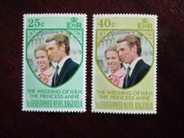 St.CHRISTOPHER NEVIS ANGUILLA 1973 ROYAL WEDDING Princess ANNE To MARK PHILLIPS SET TWO STAMPS MNH. - St.Kitts And Nevis ( 1983-...)